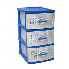 Συρταριέρα Πλαστική 3 Συρτάρια Λευκό - Μπλε Millenium 0112 39,5x38x66υψ