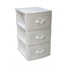 Συρταριέρα Πλαστική 3 Συρτάρια Λευκό Millenium 0112 39,5x38x66υψ