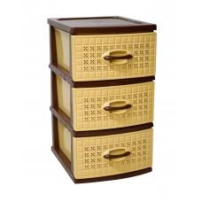 Συρταριέρα Πλαστική 3 Συρτάρια Καφέ - Μπεζ Millenium 0112 39,5x38x66υψ