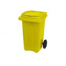 Κάδος Απορριμάτων Βαρέως Τύπου Πλαστικός Κίτρινο 120lt 2 Ρόδες Επαγγελματικός - Οικιακός Κήπου 47x54x95υψ RZ-120 E.C.