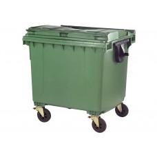 Κάδος Απορριμάτων Βαρέως Τύπου Πλαστικός Πράσινο 1100lt 4 Ρόδες Επαγγελματικός 103x137x130υψ RZ-1100 E.C.
