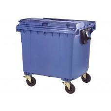 Κάδος Απορριμάτων Βαρέως Τύπου Πλαστικός Μπλε 1100lt 4 Ρόδες Επαγγελματικός 103x137x130υψ RZ-1100 E.C.