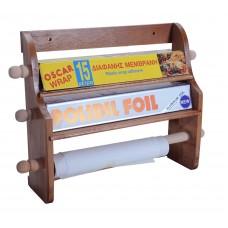 Ξύλινη Βάση Τοίχου Για Χαρτί Κουζίνας, Αλουμινόχαρτο Και Μεμβράνη OEM 227 40x10x30υψ