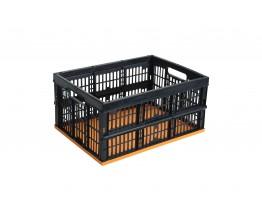 Τελάρο Αποθήκευσης Πλαστικό Πτυσσόμενο Μαύρο-Πορτοκαλί Mazzei Mondex 48x35x25υψ Νο 7001