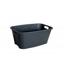 Λεκάνη Πλαστική Απλύτων - Πλυμμένων Romy Rattan Σκούρο Καφέ 35Lt 60x40x25υψ Νο 0720