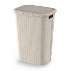 Καλάθι Απλύτων Πλαστικό Rattan Cindy Μπεζ 53Lt 44x33x60υψ 2605007