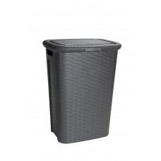 Καλάθι Απλύτων Πλαστικό Rattan Cindy Σκούρο Καφέ 53Lt 44x33x60υψ 2605009
