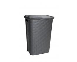 Καλάθι Απλύτων Πλαστικό Rattan Cindy Σκούρο Καφέ 53Lt 44x33x60υψ Νο 0736