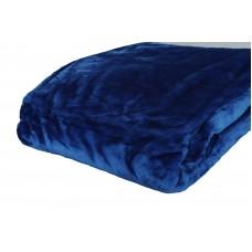 Κουβέρτα Βελουτέ Μονόχρωμη Μπλε Διπλή MINK 001.051 200x240εκ