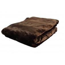 Κουβέρτα Βελουτέ Μονόχρωμη Σκούρο Καφέ Διπλή MINK 001.051 200x240εκ