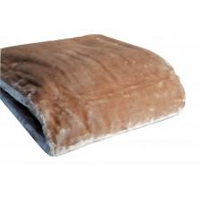 Κουβέρτα Βελουτέ Μονόχρωμη Ανοιχτό Καφέ MINK 001.051 200x240εκ