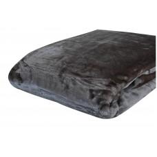 Κουβέρτα Βελουτέ Μονόχρωμη Γκρι Διπλή MINK 001.051 200x240εκ