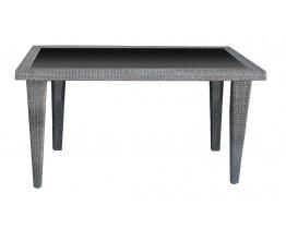 Τραπέζι Αλουμινίου Γκρι Wicker Μαύρο Τζάμι Κenya 160x90εκ A1271AT - Avant Garde