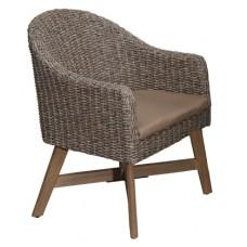 Πολυθρόνα Wicker Με Μαξιλάρι Πόδια Ευκάλυπτου Καφέ Garment ΑG2356-033 - Avant Garde