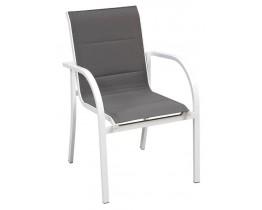 Πολυθρόνα Αλουμινίου Άσπρη Σκούρο Γκρι Textilene Μissouri ΑG02356-09 - Avant Garde