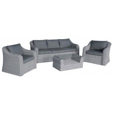 Καναπές 2 Πολυθρόνες Και Τραπεζάκι Αλουμίνιο Wicker Sicilia Γκρι Με Μαξιλάρια ΑG2268-046 Avant Garde