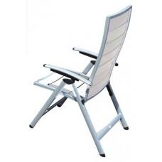 Πολυθρόνα Αλουμινίου Ρυθμιζόμενη Πλάτη Πτυσσόμενη Λευκό Ξύλο Polywood Ferrara 56x72x115υψ ΑG2381-136 Avant Garde