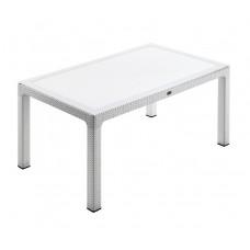 Τραπέζι Πλαστικό Rattan Με Τζάμι Λευκό Defence Novussi 90x150x74υψ ΑG2771-026 Avant Garde