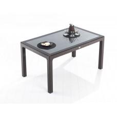 Τραπέζι Πλαστικό Rattan Με Τζάμι Καφέ Defence Novussi 90x150x74υψ ΑG2771-026 Avant Garde