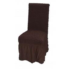Κάλυμμα Καρέκλας Με Βολάν, Ελαστικό, Καφέ PANDORA 14-0105