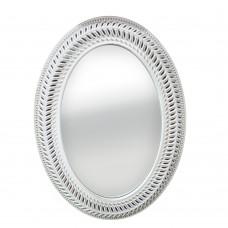 Καθρέφτης Τοίχου Ξύλινος Οβάλ Λευκός Αντικέ Plexi Liberta 56x76υψ 11-0150
