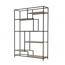 Βιβλιοθήκη Sonoma Ξύλο - Μαύρο Μέταλλο Look 140x40,4x201,5υψ Liberta 28-0134