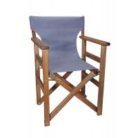 Πολυθρόνα - Καρέκλα Σκηνοθέτη Φουρνιστή Οξιά Πτυσσόμενη Καρυδί Χρώμα Ανοιχτό Γκρι Διάτρητο Pvc 57x52x86υψ Κατ' Εξοχήν 77014