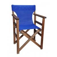 Πολυθρόνα - Καρέκλα Σκηνοθέτη Φουρνιστή Οξιά Πτυσσόμενη Καρυδί Χρώμα Μπλε Διάτρητο Pvc 57x52x86υψ Κατ' Εξοχήν 77014
