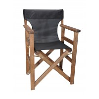 Πολυθρόνα - Καρέκλα Σκηνοθέτη Φουρνιστή Οξιά Πτυσσόμενη Καρυδί Χρώμα Μαύρο Διάτρητο Pvc 57x52x86υψ Κατ' Εξοχήν 77014