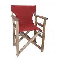 Πολυθρόνα - Καρέκλα Σκηνοθέτη Φουρνιστή Οξιά Πτυσσόμενη Καρυδί Χρώμα Μπορντώ Καραβόπανο 57x52x86υψ Κατ' Εξοχήν 77013
