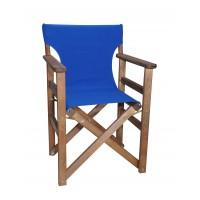 Πολυθρόνα - Καρέκλα Σκηνοθέτη Φουρνιστή Οξιά Πτυσσόμενη Καρυδί Χρώμα Μπλε Καραβόπανο 57x52x86υψ Κατ' Εξοχήν 77013