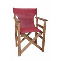 Πολυθρόνα - Καρέκλα Σκηνοθέτη Φουρνιστή Οξιά Πτυσσόμενη Καρυδί Χρώμα Μπορντώ Διάτρητο Pvc 57x52x86υψ Κατ' Εξοχήν 77014