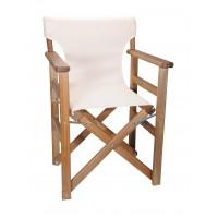Πολυθρόνα - Καρέκλα Σκηνοθέτη Φουρνιστή Οξιά Πτυσσόμενη Καρυδί Χρώμα Εκρού Διάτρητο Pvc 57x52x86υψ Κατ' Εξοχήν 77014