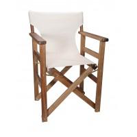 Πολυθρόνα - Καρέκλα Σκηνοθέτη Φουρνιστή Οξιά Πτυσσόμενη Καρυδί Χρώμα Εκρού Καραβόπανο 57x52x86υψ Κατ' Εξοχήν 77013