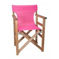 Πολυθρόνα - Καρέκλα Σκηνοθέτη Φουρνιστή Οξιά Πτυσσόμενη Καρυδί Χρώμα Φούξια Διάτρητο Pvc 57x52x86υψ Κατ' Εξοχήν 77014