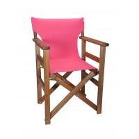 Πολυθρόνα - Καρέκλα Σκηνοθέτη Φουρνιστή Οξιά Πτυσσόμενη Καρυδί Χρώμα Φούξια Καραβόπανο 57x52x86υψ Κατ' Εξοχήν 77013