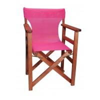 Πολυθρόνα - Καρέκλα Σκηνοθέτη Φουρνιστή Οξιά Πτυσσόμενη Κερασί Χρώμα Φούξια Διάτρητο Pvc 57x52x86υψ Κατ' Εξοχήν 77012