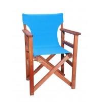 Πολυθρόνα - Καρέκλα Σκηνοθέτη Φουρνιστή Οξιά Πτυσσόμενη Κερασί Χρώμα Γαλάζιο Καραβόπανο 57x52x86υψ Κατ' Εξοχήν 77011