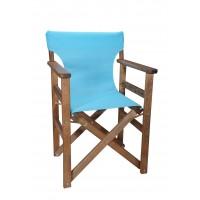 Πολυθρόνα - Καρέκλα Σκηνοθέτη Φουρνιστή Οξιά Πτυσσόμενη Καρυδί Χρώμα Γαλάζιο Διάτρητο Pvc 57x52x86υψ Κατ' Εξοχήν 77014