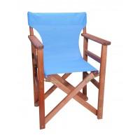 Πολυθρόνα - Καρέκλα Σκηνοθέτη Φουρνιστή Οξιά Πτυσσόμενη Κερασί Χρώμα Γαλάζιο Διάτρητο Pvc 57x52x86υψ Κατ' Εξοχήν 77012
