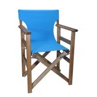 Πολυθρόνα - Καρέκλα Σκηνοθέτη Φουρνιστή Οξιά Πτυσσόμενη Καρυδί Χρώμα Γαλάζιο Καραβόπανο 57x52x86υψ Κατ' Εξοχήν 77013