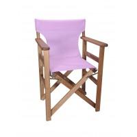 Πολυθρόνα - Καρέκλα Σκηνοθέτη Φουρνιστή Οξιά Πτυσσόμενη Καρυδί Χρώμα Λιλά Διάτρητο Pvc 57x52x86υψ Κατ' Εξοχήν 77014