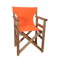 Πολυθρόνα - Καρέκλα Σκηνοθέτη Φουρνιστή Οξιά Πτυσσόμενη Καρυδί Χρώμα Πορτοκαλί Καραβόπανο 57x52x86υψ Κατ' Εξοχήν 77013