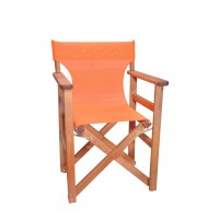 Πολυθρόνα - Καρέκλα Σκηνοθέτη Φουρνιστή Οξιά Πτυσσόμενη Κερασί Χρώμα Πορτοκαλί Διάτρητο Pvc 57x52x86υψ Κατ' Εξοχήν 77012