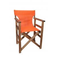 Πολυθρόνα - Καρέκλα Σκηνοθέτη Φουρνιστή Οξιά Πτυσσόμενη Καρυδί Χρώμα Πορτοκαλί Διάτρητο Pvc 57x52x86υψ Κατ' Εξοχήν 77014
