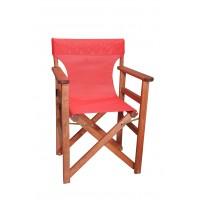 Πολυθρόνα - Καρέκλα Σκηνοθέτη Φουρνιστή Οξιά Πτυσσόμενη Κερασί Χρώμα Κόκκινο Διάτρητο Pvc 57x52x86υψ Κατ' Εξοχήν 77012