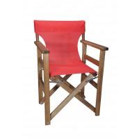 Πολυθρόνα - Καρέκλα Σκηνοθέτη Φουρνιστή Οξιά Πτυσσόμενη Καρυδί Χρώμα Κόκκινο Διάτρητο Pvc 57x52x86υψ Κατ' Εξοχήν 77014