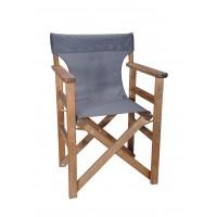 Πολυθρόνα - Καρέκλα Σκηνοθέτη Φουρνιστή Οξιά Πτυσσόμενη Καρυδί Χρώμα Σκούρο Γκρι Διάτρητο Pvc 57x52x86υψ Κατ' Εξοχήν 77014
