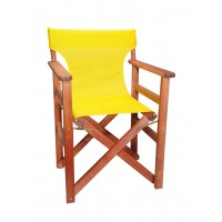 Πολυθρόνα - Καρέκλα Σκηνοθέτη Φουρνιστή Οξιά Πτυσσόμενη Κερασί Χρώμα Κίτρινο Διάτρητο Pvc 57x52x86υψ Κατ' Εξοχήν 77012