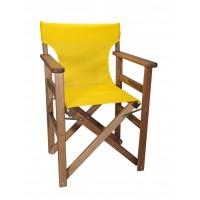 Πολυθρόνα - Καρέκλα Σκηνοθέτη Φουρνιστή Οξιά Πτυσσόμενη Καρυδί Χρώμα Κίτρινο Διάτρητο Pvc 57x52x86υψ Κατ' Εξοχήν 77014
